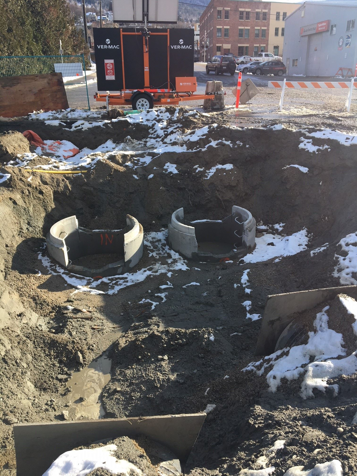 Storm manhole excavation facing south
